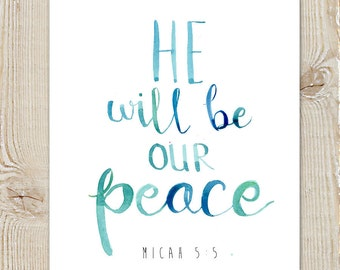 Micah 5 Peace Christmas Watercolor Instant Download Printable Print