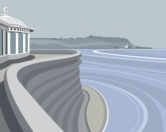 A3 LTD EDITION PRINT. Uk Scarborough Minimal contemporary archival art print, inspired modernist design - By Ian Mitchell