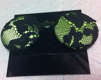 Green and Black Lace Earring Posts