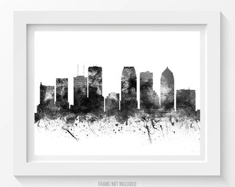Tampa Poster, Tampa Skyline, Tampa Cityscape, Tampa Print, Tampa Art, Tampa Decor, Home Decor, Gift Idea 02BW