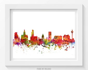 Liverpool England Poster, Liverpool Skyline, Liverpool Cityscape, Liverpool Print, Liverpool Art, Liverpool Decor, Idea, GBLP08P