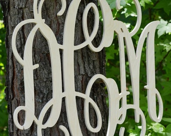 "Wall Decor Wooden Monogram 22"", Ready to be painted, Large Wood Letters Connected, Unfinished Wood Monogram"