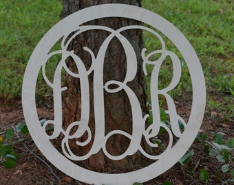 "Round Border Monogram, 14"" inches, Vine Wooden Monogram, Wedding, Nursery, Home Decor, Unpainted, Ready for you to paint"