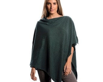 Forest Green 100% Cashmere Poncho