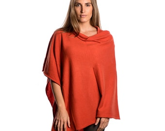 Burnt Orange Poncho/Coral Poncho/Burnt Orange 100% Cashmere Poncho