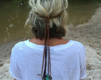 Braided leather hippie headband.