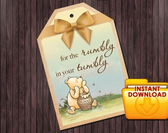 Classic Winnie the Pooh Baby Shower #2 printable tag for the rumbly in your tumbly