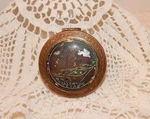 vintage hotel Galveston Texas make up powder case compact - velour -