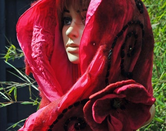 Poppy Red Embroidered Nuno Felted Scarf Long Pure Wool and Silk with Matching Flower Brooch