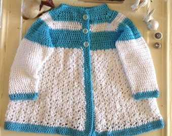 Cute, Hand Crocheted, Cotton Baby Sweater, Blue & White, Size 18 Month