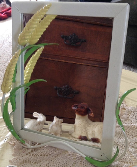 Vintage Stand Up Vanity Mirror Painted Metal Frame With