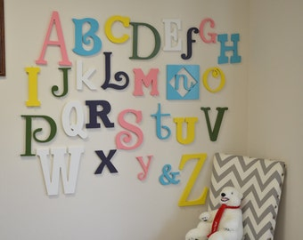 Wooden Alphabet Letters PAINTED in mixed Fonts and Sizes, Wooden Alphabet Letter nursery wall art, Nursery Decor Wall Hanging Letters
