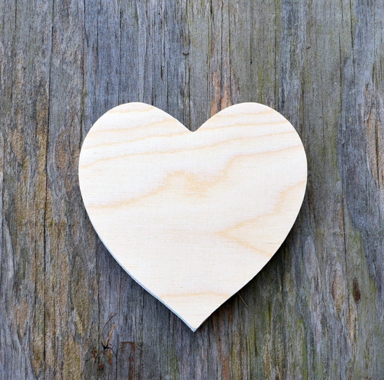 Heart shape cutout unfinished wood various sizes wood for Craft supplies wooden shapes