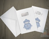 Scratch off card - Robot - Personalised secret message - scratch and reveal greeting card by Doodle Dot