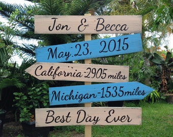 Rustic Directional Wedding Sign, Best Day Ever Shoes Optional Ceremony Sign, Beach Wedding Decor