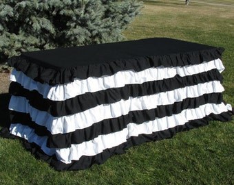 Striped Ruffle Tablecloth For 4 Foot Table Tailgate Or Holiday Decor, Black  And White