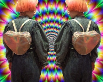 psychedelic holographic heart shape back pack