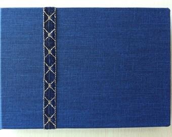 Mini Handbound Blue Journal with Decorative Ribbon