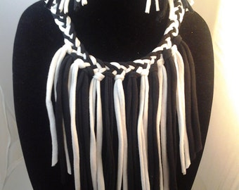 Black and white fringe tshirt  jewelry set