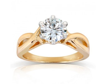 Round Moissanite Solitaire Engagement Ring 1 Carat (ctw) in 14k Yellow Gold