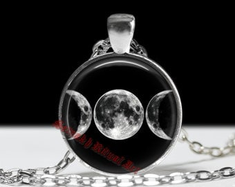 Triple Moon pendant, wiccan amulet, occult jewelry, witch necklace, nature amulet, crescent Moon jewellery #110