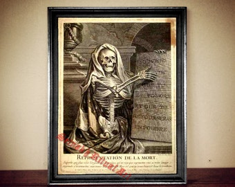 Memento Mori print, occult poster, human skeleton art, gothic home decor, medieval illustration, alchemy, death symbol, magick skull #13