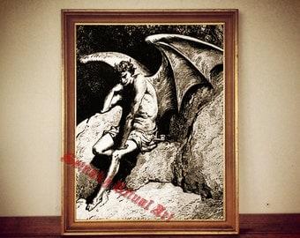 Lucifer the Fallen Ange by Gustav Dore | print illustration poster | occult antique vintage home decor |107