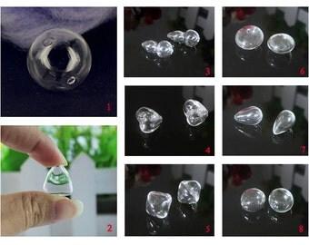 1PC  Empty Mini Glass Globe/Tiny Glass Globes/DIY glass globes/With 2 holes/DIY bottle pendant