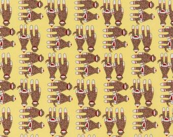 Erin Michael Sock Monkey OOP Fabric for Moda - Goodnight Monkey Collection - Funky Monkey 26063-14 in Banana Yellow