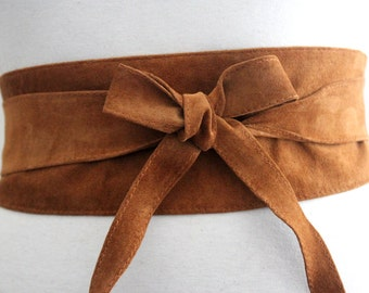 Tan Obi Belt | Tan Suede Obi Belt | Corset Waist Belt | Sash Tie Belt | Real Suede Leather Belt| Handmade Belt | Petite to Plus size belts