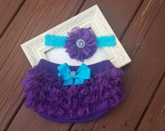 Purple and Turquoise Lace  Headband & Bloomers Set, birthday, flower girl, cake smash set, infant, newborn , toddler