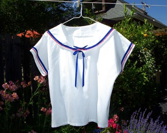 Women's Sailor Top, White Cotton with Blue and Red Details