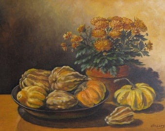 Pumpkins still life Original Oil painting handmade
