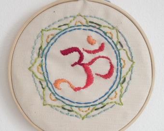 "Om Mandala Embroidery Hoop Art - Size 6"""