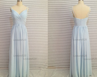 Light Blue Chiffon Prom Dress, Long Bridesmaid Dress, Backless Long Bridesmaid Dress,Backless Formal Dresses  2015 New Arrive