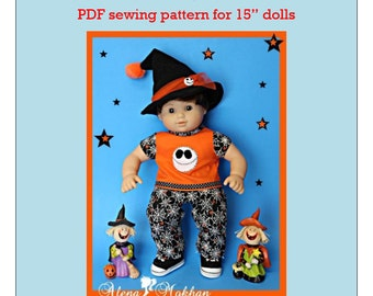 "15"" Doll Clothes PDF Sewing Pattern #1003 - Halloween Skull Costume"