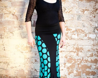 Black with teal spots SWIRL Flamenco skirt.