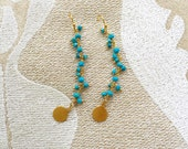 Turquoise Rosary Bead Earrings with Simple Gold Fish Hooks