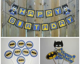 Batman Happy Birthday Banner 8 Cupcake toppers and centerpiece / Happy Birthday / Batman Party Decoration / Birthday Banner/ Yellow/Blue