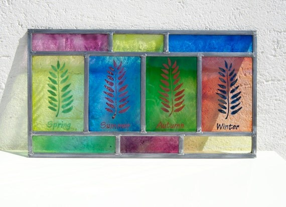 Stained glass - Seasons - Spring Summer Autumn Winter - Hand painted glass - Gift for her - Unique - Ready To Ship