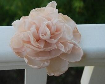 Blush bridal hair flower; wedding flower hair clip; blush chiffon hair clip