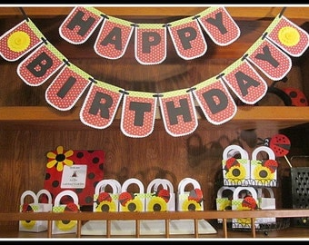 Ladybug Theme Birthday Banner