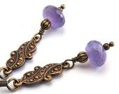Amethyst Earrings in Vintage Drop Style, Oxidized Brass with Amethyst Stone Earrings, Romantic Victorian Edwardian Style, Antique Gold Look