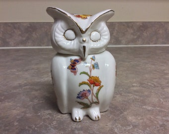 Porcelain Owl Trinket Box Figurine with Floral and Butterfly Design, Bone China.