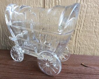 Cute and Rare Clear Glass Covered Wagon Figural Candy Dish.