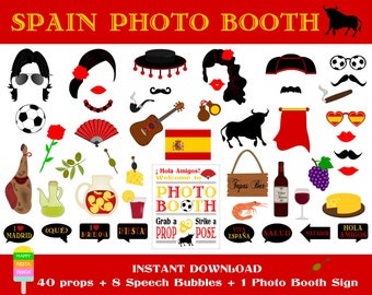 PRINTABLE Spain Photo Booth Props–Photo Booth Sign-Spanish Party Props-Fiesta España Props-Spain Photo Props-Spanish Props-Instant Download