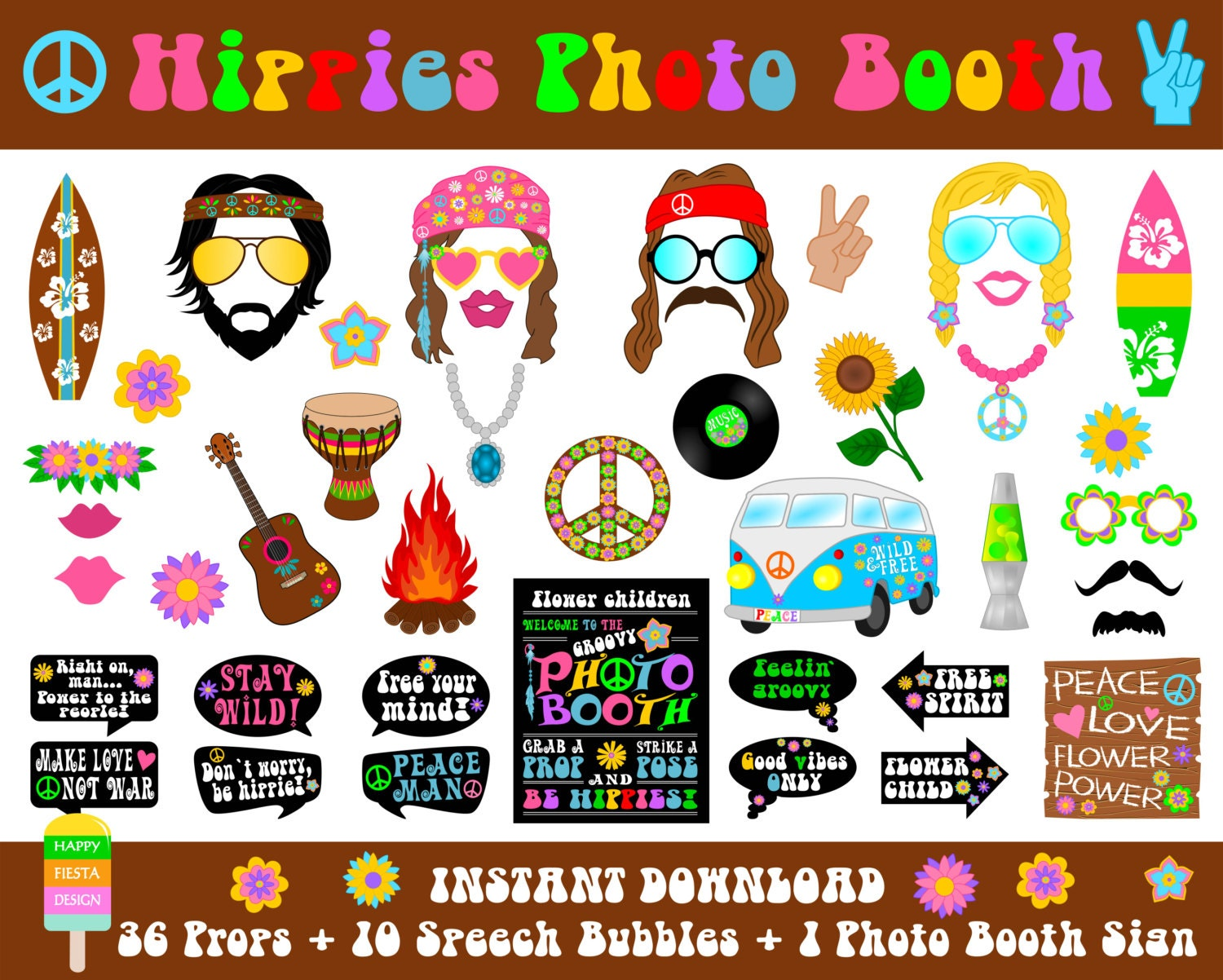 PRINTABLE Hippies Photo Booth PropsPhoto Booth Sign-Hippie