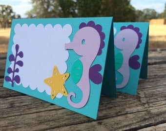 Set of 5 Under the Sea Tent Labels- Mermaid Party, Food Labels, Baby Shower, Birthday Party Labels, Beach Party