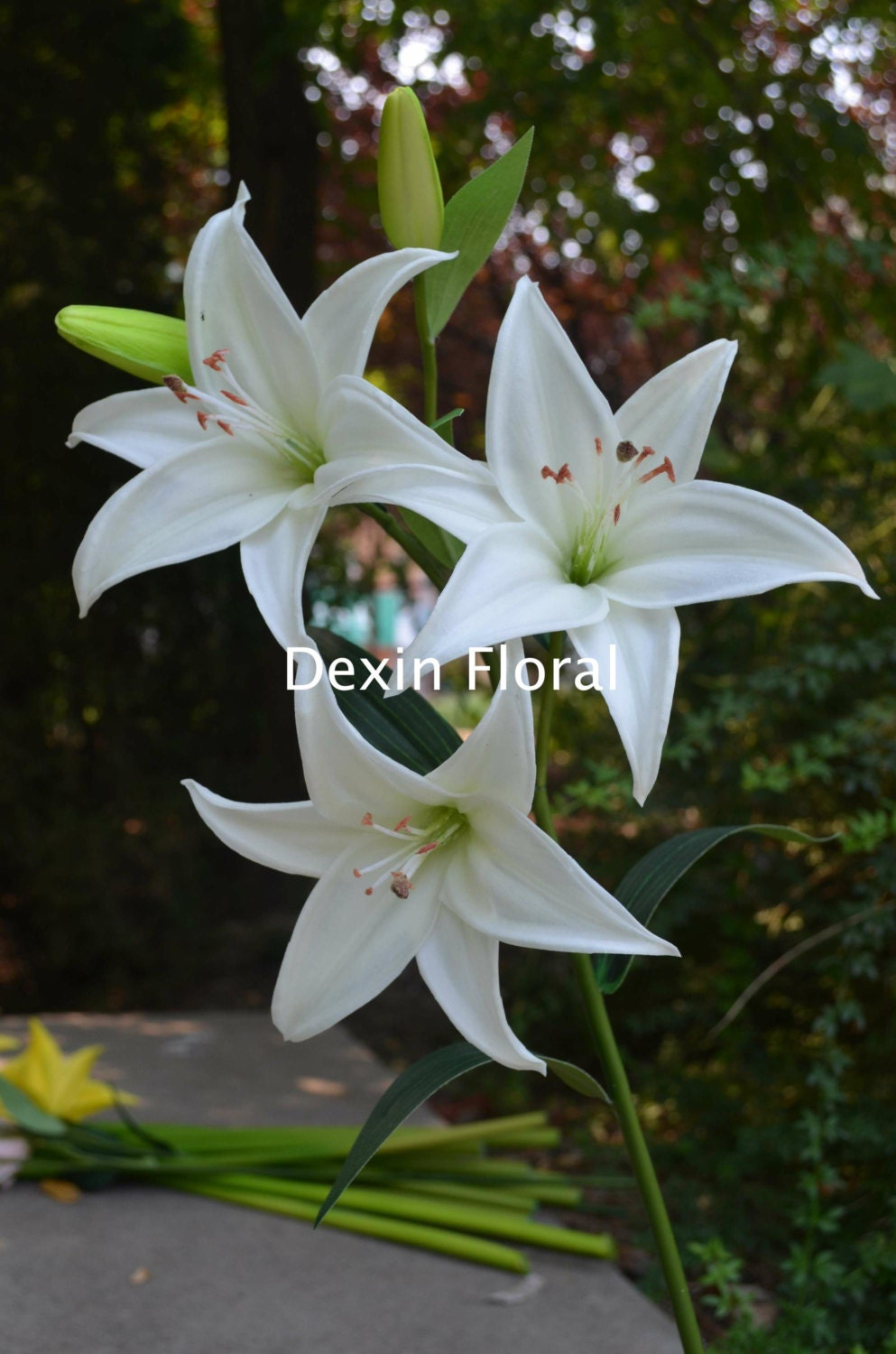 Natural real touch white tiger lily long stem for wedding zoom dhlflorist Choice Image
