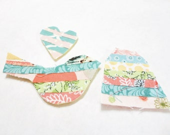 Scrapbook tag set in pink, yellow, teal, blue scrapbook embellishments bird scrapbook tag and heart card making supplies paper crafts 263